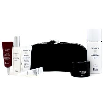 Дорожный набор Diorsnow: лосьон + эссенция + ночной крем D-NA + UV защита + средство для глаз + сыворотка One Essential  + сумка (Черного цвета) 6шт.+1bag