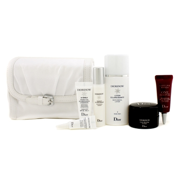 Diorsnow Travel Set: Lotion + Essence + D-NA Night Creme + UV Shield + Eye Treatment + One Essential Serum + Bag (White)