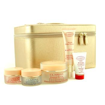 Роскошная коллекция средств, повышающих упругость кожи: крем для шеи + сыворотка на растительной основе + дневной крем + ночной крем + бальзам + коробка 5шт.+1box