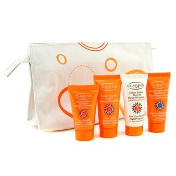 Дорожный набор: солнцезащитный крем + разглаживающий крем + крем против морщин + увлажняющее средство после солнца + сумка 4шт.+bag