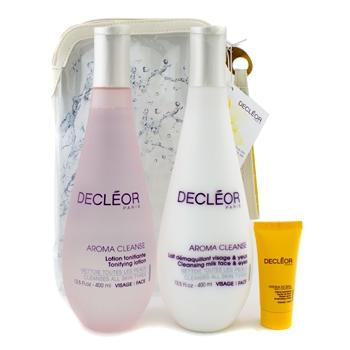 Набор Decleor: очищающее молочко 400мл + очищающий лосьон 400мл + увлажняющий крем Hydra Floral 15мл + 1 сумка 3шт.+1bag