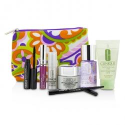 Travel Set: Make Up Remover+Liquid Facial Soap+Cream+Eye Treatment+Skinny Stick+Mascara+Lip Gloss+Bag
