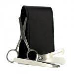 Набор для Маникюра: Щипчики для Ногтей + Ножницы для Волос в Носу + Пинцет + Черная Сумка