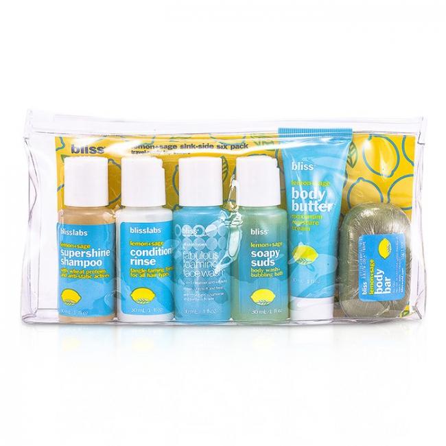 Bliss Lemon & Sage Sinkside Six Pack: Body Butter+Soapy  Sap+Shampoo+Conditioner+Face Wash+Soap