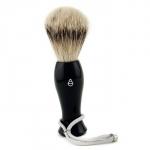 Помазок для бритья с серебристым напылением - черный