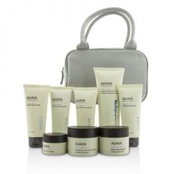 Essential Beauty Case: Body Exfoliator+Body Lotion+Cleanser+Facial Exfoliator+Mask+Day Cream+Night Cream+Eye Cream+Gray Bag