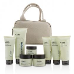 Essential Beauty Case: Body Exfoliator+Body Lotion+Cleanser+Facial Exfoliator+Mask+Day Cream+Night Cream+Eye Cream+Beige Bag