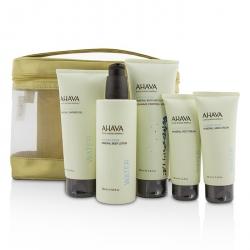Deadsea Water Mineral Body Kit: Shower Gel + Body Exfoliator + Body Lotion + Hand Cream + Foot Cream + Gold Bag