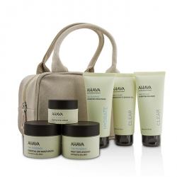 Hydrating Beauty Case Set: Cleansing Gel 100ml+Mud Mask 100ml+Cream Mask 100ml+Day 50ml+Night 50ml+Eye Cream 15ml+Bag