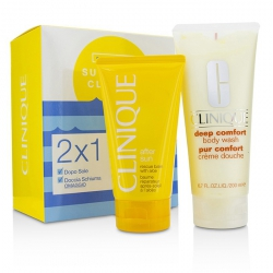 Summer In Clinique Set: Deep Comfort Body Wash 200ml/6.7oz + After Sun Rescue Balm 150ml/5oz