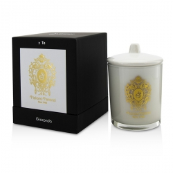Glass Candle with Gold Decoration & Wooden Wick - Spicy Snow (White Glass)