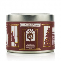 Tin Can 100% Beeswax Candle with Wooden Wick - Sugar Plums (Sugar Plum, Mandarin Orange & Candy Cane)
