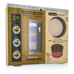 Makeup Set 8658: 1x Shimmer Strips Eye Enhancing Shadow, 1x CoverToxTen50 Face Powder, 1x Applicator