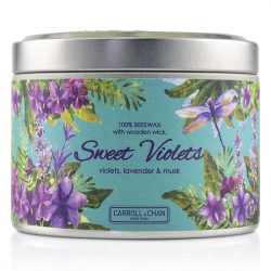 Tin Can 100% Beeswax Candle with Wooden Wick - Sweet Violets