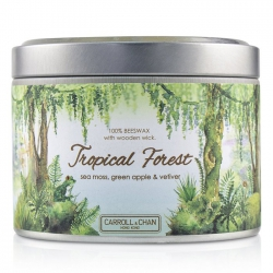 Tin Can 100% Beeswax Candle with Wooden Wick - Tropical Forest