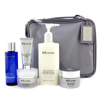 Набор омолаживающих средств: средство для мытья лица + маска-лифтинг + крем Marine + ночной крем + эликсир для ванны + сумка 5шт.+1bag