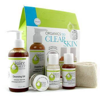 Набор Organicс Too Clear Skin: очищающее средство + пилинг Green Apple + сыворотка + увлажняющее средство + ободок 5шт.