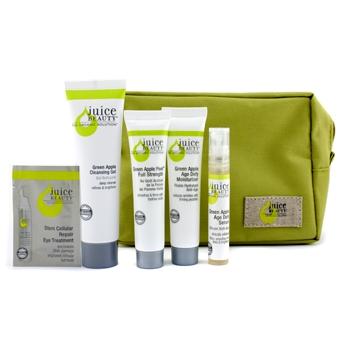 Набор антивозрастных средств Зеленое Яблоко: очищающий гель + пилинг + увлажняющее средство + сыворотка + средство для глаз + сумка 5шт.+1bag
