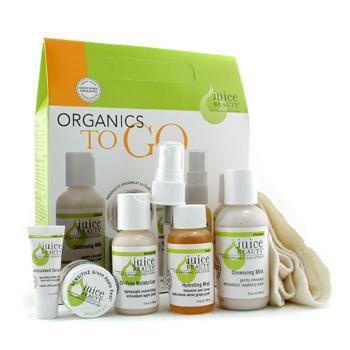 Набор Organicс Too Go: очищающее средство + пилинг Зеленое Яблоко + сыворотка + увлажняющее средство + увлажняющее средство без жировых добавок + мочалка 6шт.