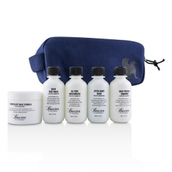 Travel Starter Kit: Face Wash + Shave Formula + Moisturizer + Shave Balm + Shampoo + Bag