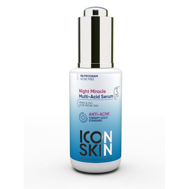ICON SKIN Сыворотка-пилинг для лица ночная с миндальной кислотой. Для жирной и проблемной кожи. 30 мл купить косметику от ICON SKIN - Профессиональная косметика и парфюмерия Cosmostore.ru