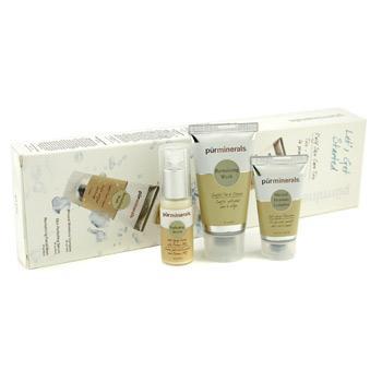 Pur Minerals ежедневное трио для кожи: восстанавливающее средство для мытья лица + увлажняющий минеральный комплекс + сыворотка Скин перфектинг 3шт.