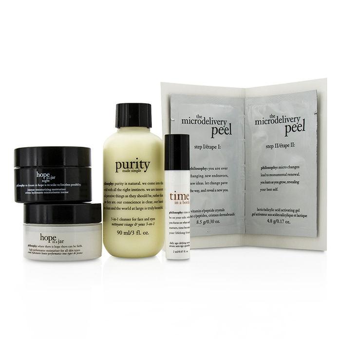 Philosophy Cleanse, Peel, Treat Trial Set:Cleanser 90ml+Day Moisturizer  15ml +Night Moisturizer 15ml+Serum 2ml+ Peel 8 5g & 4 8g