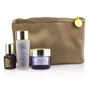 Travel Set: Micro Essence 30ml + Advanced Time Zone Night Cream 15ml + Advanced Night Repair II 7ml + Bag