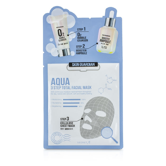 Secret A Skin Guardian 3 Step Total Facial Mask Kit - Aqua 10x29ml/0.98oz Facial Acne and Pimple Removing Master Patch - 24 Patch(es) by COSRX (pack of 2)